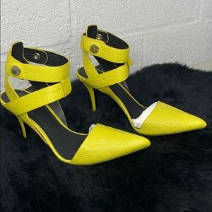 ALEXANDER WANG LEATHER ANKLE-WRAP HEELS